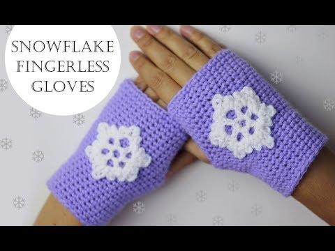 Crochet Snowflake Fingerless Gloves for Beginners