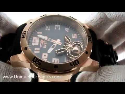 Invicta Sea Spider Rose Gold Black Spider Dial Polyurethane 10297 Watch