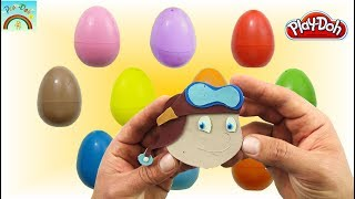 10 Colors Surprise Eggs Opening (Cute little boy operating a plane) - Play Doh for kids