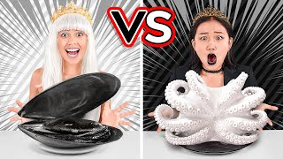 BLACK VS WHITE COLOR CHALLENGE! Fun Eating Everything In 1 Color For 24 Hours By 123 GO! CHALLENGE