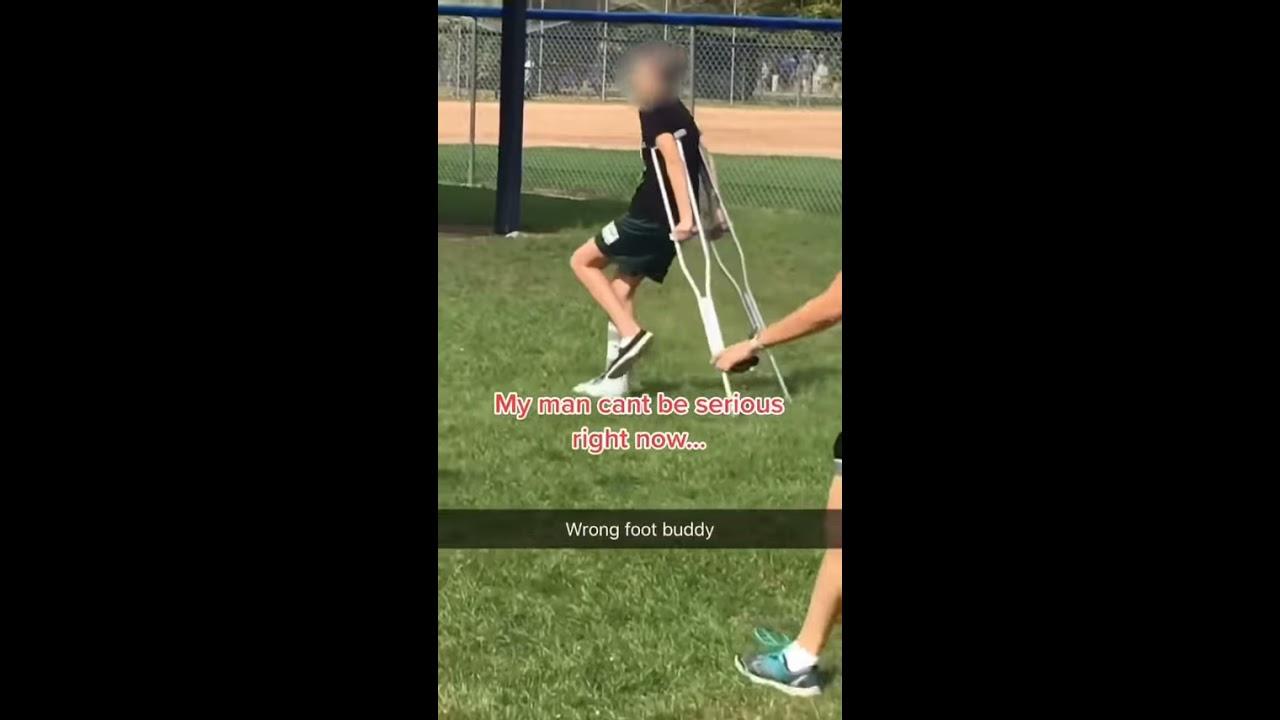 Kid Walks On Wrong Leg While Faking Leg Injury - 1183221