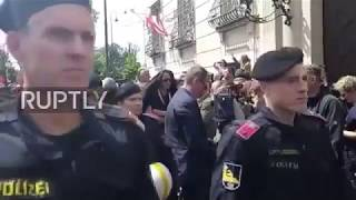 Download Austria: Protesters rally outside Federal Chancellery in wake of Strache scandal Video