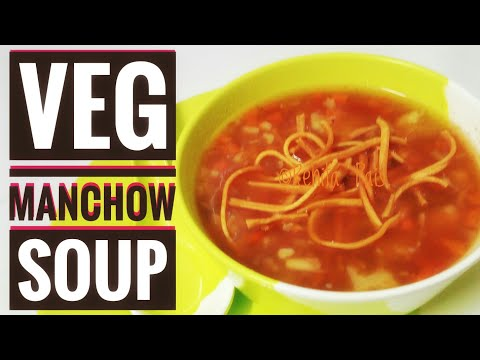 Veg Manchow Soup/ Super Easy Manchow Soup at home/how to make corn starch and fried noodles