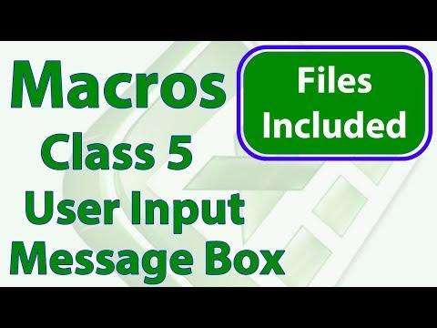 Excel Macro Class 5 - Get User Input - Message Box