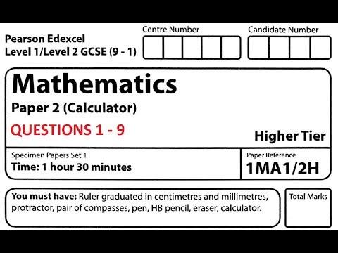 Revise Edexcel GCSE Maths Higher Paper 2 Set 1 Questions 1 - 9