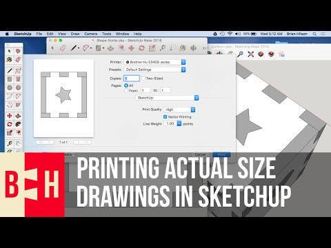 Printing Actual Size Templates with Sketchup Make for Mac