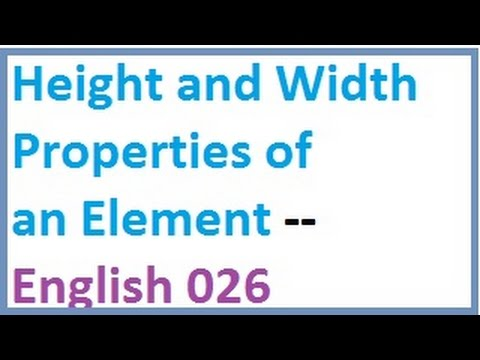 Height and Width Properties of an Element -- English-vlr training