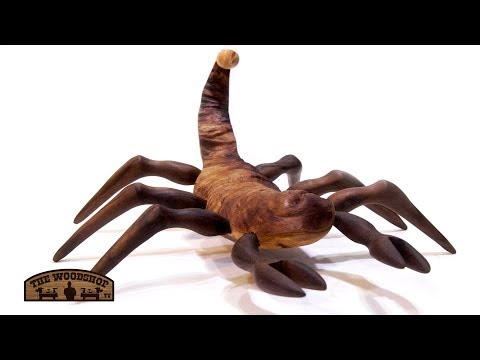 Wooden Scorpion Turned And Carved From Apple Wood And Walnut.