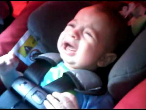 One baby who does not fall asleep in the car