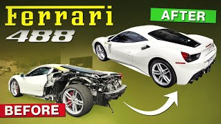 REBUILDING A WRECKED FERRARI 488 GTB IN 12 MINUTES \TRANSFORMATION \ FIRST TEST DRIVE!