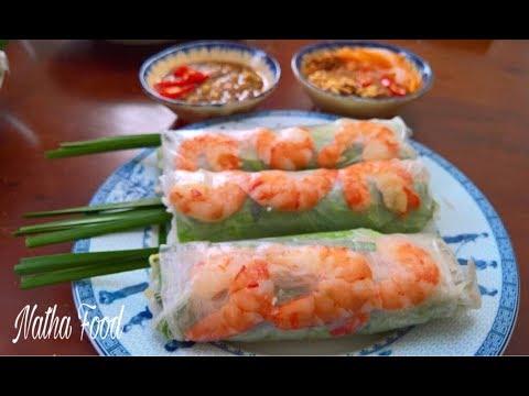 Gỏi cuốn với 2 loại nước chấm thiệt là ngon || Vietnamese Fresh Spring Roll || Natha Food
