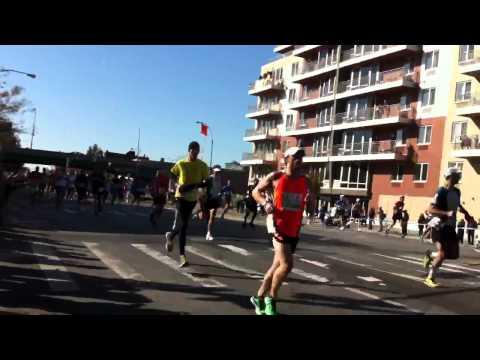 NYC Marathon runners running through Brooklyn