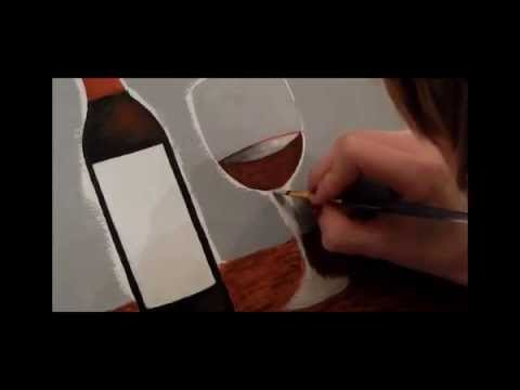 Painting a Wine Bottle and Glass