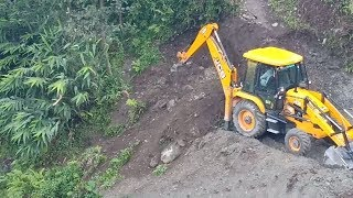 New JCB ecoXcellence Backhoe-Clearing and Extending Narrow Road