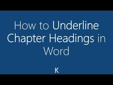 MS Word - How to Underline Chapter Headings