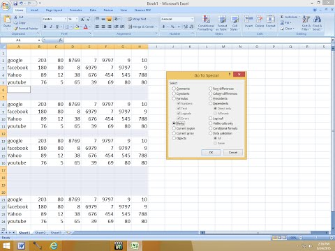 Shortcut key to Delete Multiple Blank Rows/Columns in MS Excel