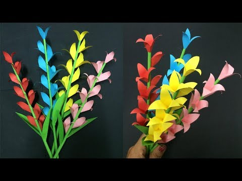 How to Make Paper Flower Stick | Making Paper Flowers Step by Step | DIY-Paper Crafts