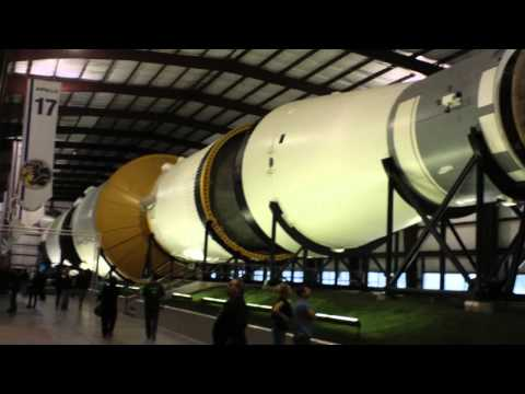 Gigantic Saturn V moon rocket at NASA in Houston Texas