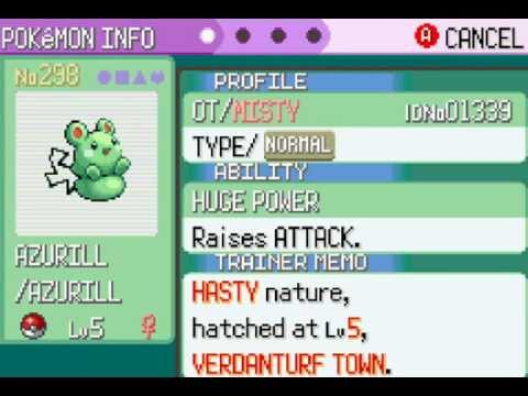 Pokemon Emerald Shiny Azurill Hatched
