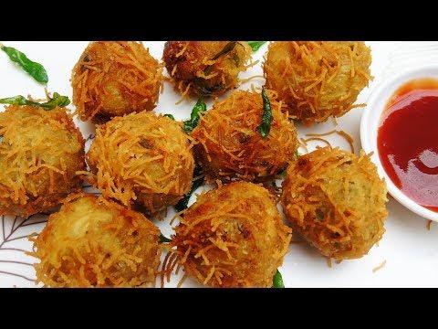Evening Snacks Recipe in Tamil -Vegetable Bird Nest Recipe - Crispy Semiya Cutlet Recipe