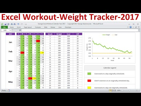 Excel Exercise Planner, Workout Calendar and Weight Tracker for Calendar Year 2017