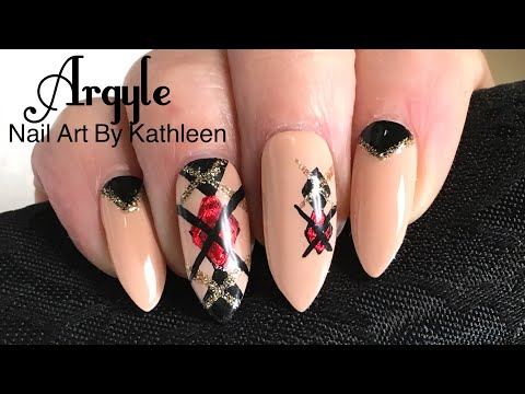 Argyle Nail Art With Foil And Glitter