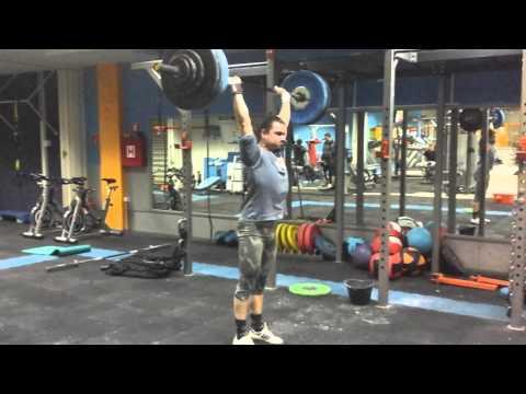 Powerclean, push press, jerk 107.5kg x1
