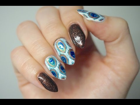 Easy Peacock Feathers Inspired Nailart Tutorial - Reversed Stamping Decal