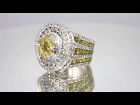 Mens 14K White Solid Gold Diamond Custom Pinky Ring with Yellow Diamonds 15.68 Ctw