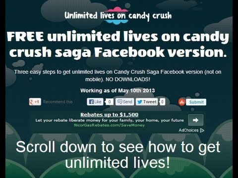 Unlimited Lives on Candy Crush Facebook NO DOWNLOADS
