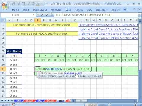 Excel Magic Trick 460: Transpose Range with INDEX, COLUMNS and ROWS functions