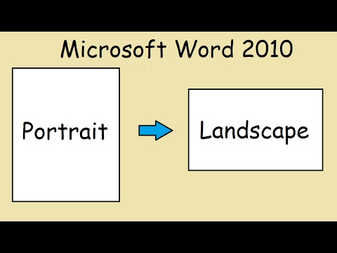 How to turn page sideways Microsoft Word 2010