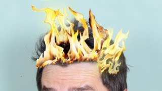 HAIR CATCHES ON FIRE!