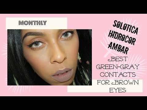Best Green-Gray Contacts for Brown Eyes | Solotica hidrocor Ambar Monthly|