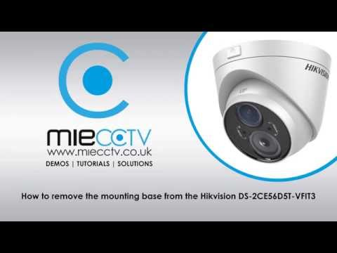 How to remove the mounting base from the Hikvision DS-2CE56D5T-VFIT3
