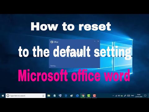 How to reset Microsoft office word 2016 to the default setting