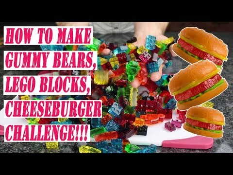 How to make gummy bears, gummy lego blocks, and cheeseburger challenge