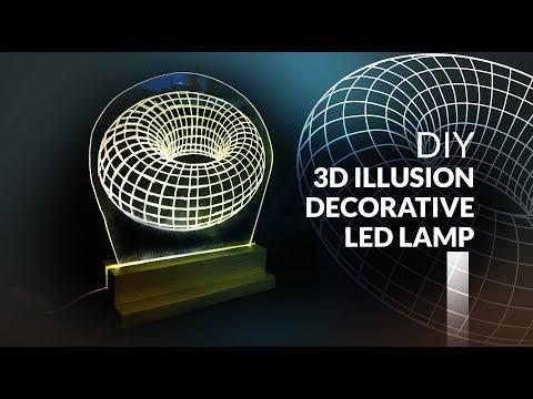 3D illusion Led Lamp DIY How to make