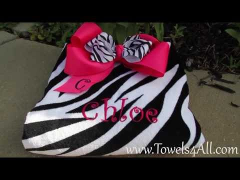 Zebra Print Beach Towel and Hot Pink Zebra Bow Set - video demo
