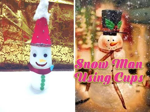 How to make Snowman using disposable cups/ Christmas Crafts