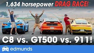 Drag Race! Porsche 911 vs. Chevy Corvette vs. Shelby GT500 — Which Sports Car Has the Fastest 0-60?