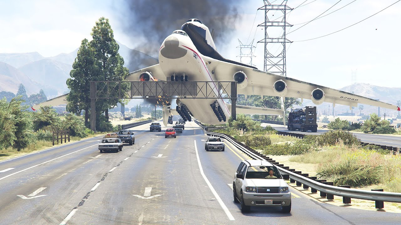 Shuttle's Pilot Forced To Land On Highway Right After Take Off | GTA 5