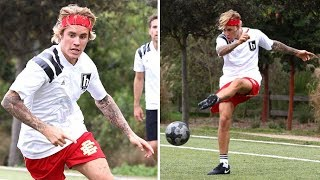 Justin Bieber Gets His Kicks On The Soccer Field