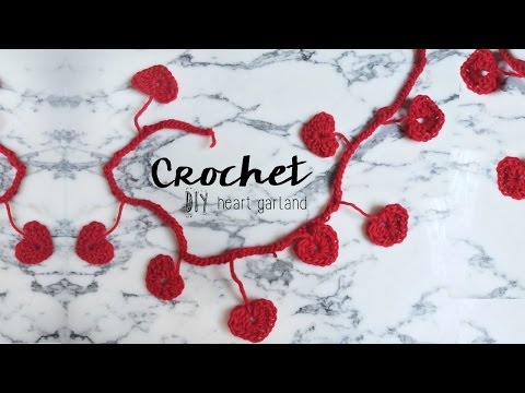 DIY Crochet Heart Garland // Valentines day