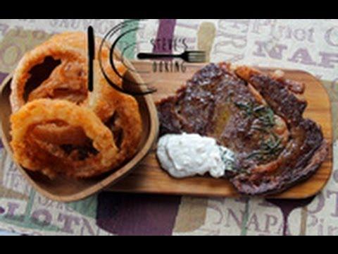 Rib-eye steak with crispy Onion Rings and Horseradish cream recipe