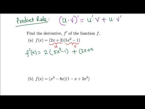 Calculus: Derivative using product rule (easy examples)
