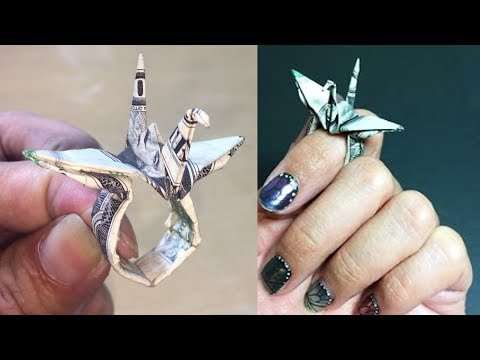 How to Make Origami Money Crane Ring Tutorial DIY