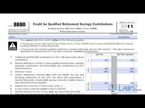Learn How to Fill the Form 8880 Credit for Qualified Retirement Savings Contributions