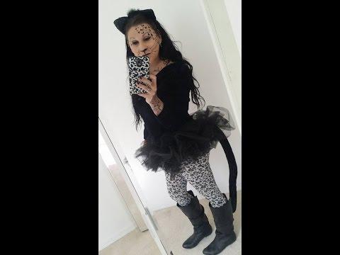 leopard print makeup last minute halloween costume idea black cat easy!