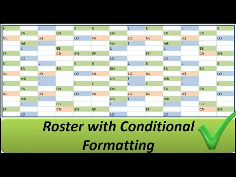 Excel Roster with Conditional Formatting -- Shifts in Colours